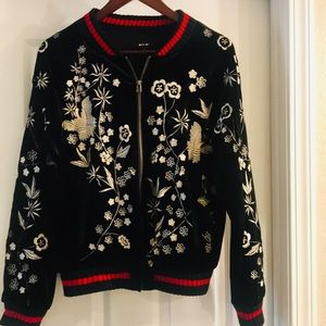 Miss Me velvet embroidery bomber jacket